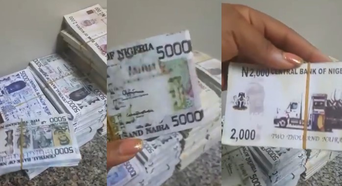 Man deposits N17million in the bank with 'new' 5000 and 2000 naira notes (Video)