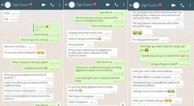 ABOMINATION! Chat screenshots between a girl and her first cousin who impregnated her