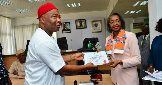 Image result for INEC presents certificate of return to Hope Uzodinma