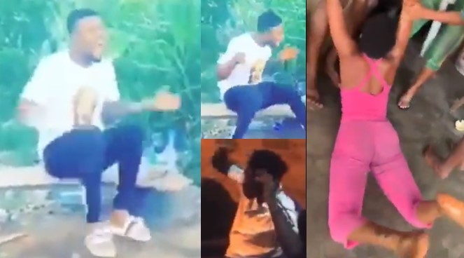 Viral clips of young Nigerians going gaga after taking 'Colorado' (Videos)