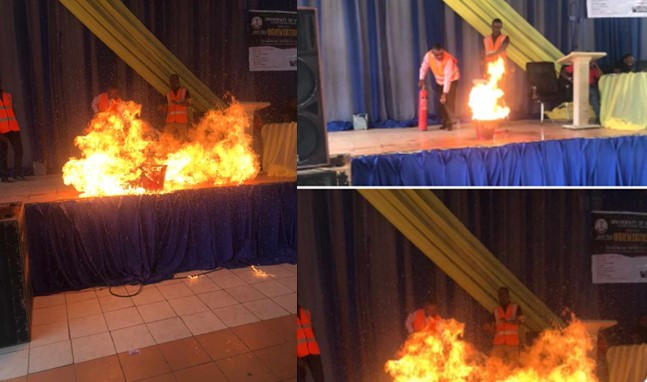 Attempt to teach fire safety drill to students goes terribly wrong as fire engulfs the stage