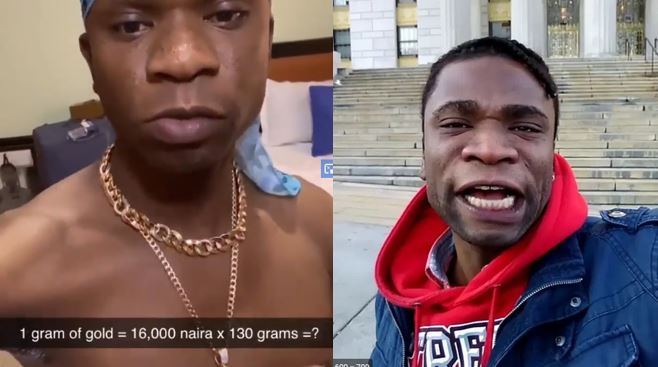 "Speed Darlington flaunts his ""N2million"" gold chain he bought inside Yaba market, Lagos (video)"