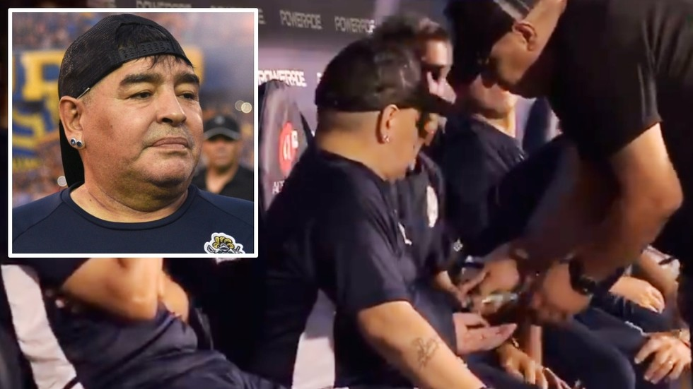 Maradona takes unknown substance as assistant coaches and substitutes block camera (VIDEO)