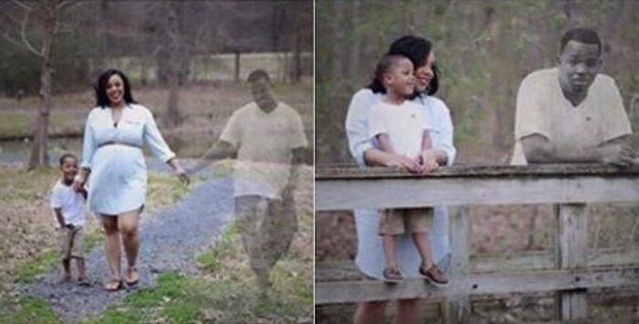 TOUCHING! Woman's husband passed away and a photographer recreated the vision of him with his wife and child (Photos)