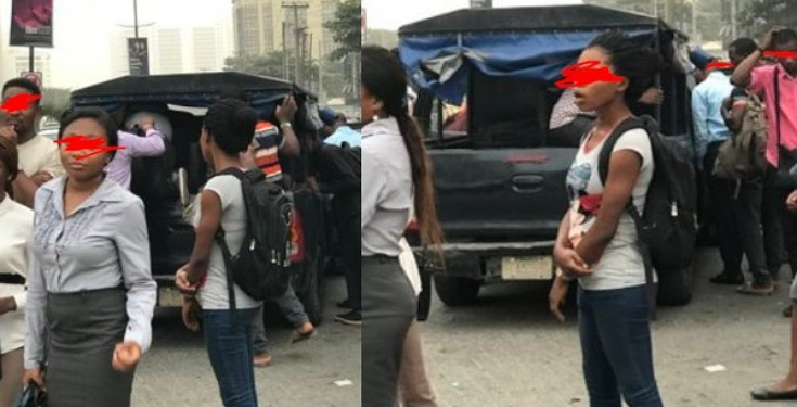 Nigerian Police convert their van to commercial vehicle, transport passengers to Ojuelegba