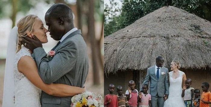 White tourist marries African man, takes him and his seven kids to Canada after his wife abandoned him because he's poor (Photos)