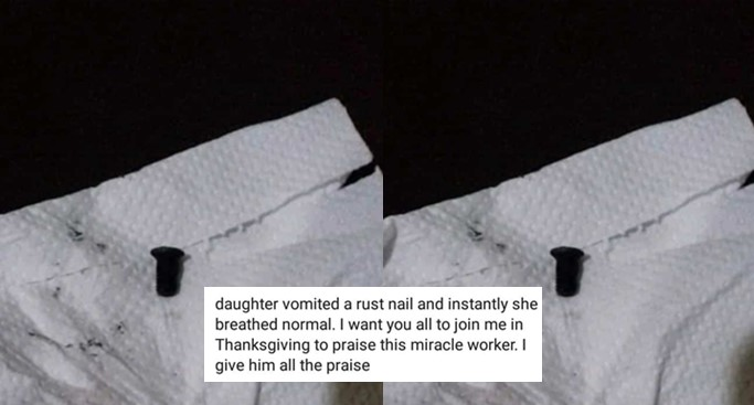 Mother narrates how her three-year-old daughter swallowed nail and vomited it after 8 months