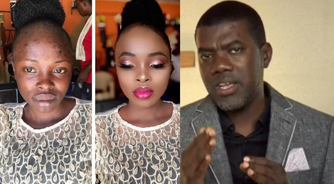 """""""Never marry anyone you haven't seen without makeup"""" – Reno Omokri says as he shares a woman's incredible makeup transformation"""