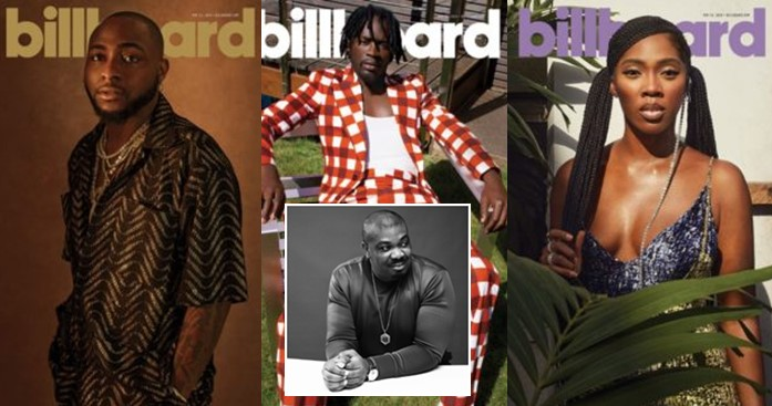 Congrats Kings and Queen – Don Jazzy congratulates Davido, Mr Eazi and Tiwa Savage on covering Billboard Magazine