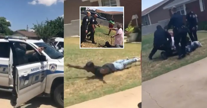 African American man screams in fear as numerous cops draw guns on him and his grandmom (Video)