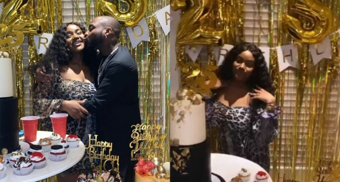 See the customized 24 karat gold bottle of wine Davido's fiancee, Chioma received as a gift on her 25th birthday (Videos)