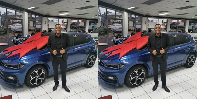 Young man thanks God as he celebrates the purchase of his first car at 21 (Photos)