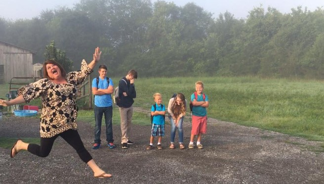 Mom goes viral for jubilating as schools reopen (Photos)