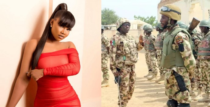 """""""May God guide and protect the Nigeria Army """" – Tacha weeps as she prays for soldiers fighting Boko Haram"""