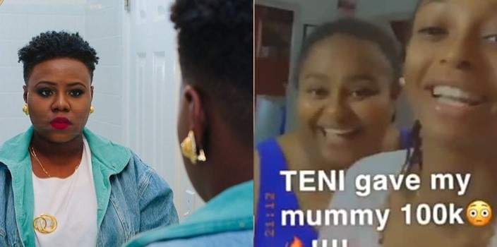 Video: Teni gifts a mother N100k as appreciation for being a fan