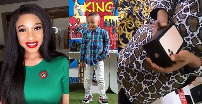 Video: Tonto Dikeh surprises her son's nanny with an iPhone 11 gift
