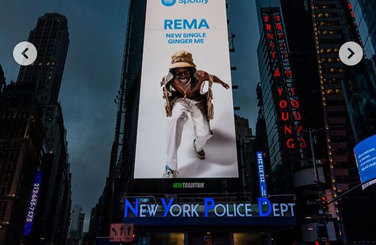 Rema featured by Spotify on Times Square's billboard