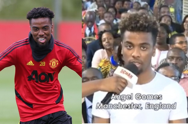 Manchester United star, Angel Gomes reacts to viral video of him at TB Joshua's church