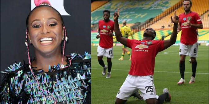DJ Cuppy finally chooses to support Man United after Ighalo scores 5th goal
