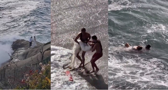 Couple swept into Pacific ocean while taking photos on their wedding day (Video)