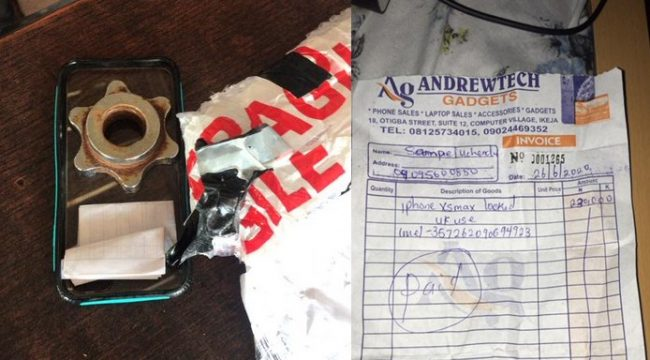 Man orders N230k iPhone XS Max from Computer village but receives well-packaged metallic object (Photo/Video)