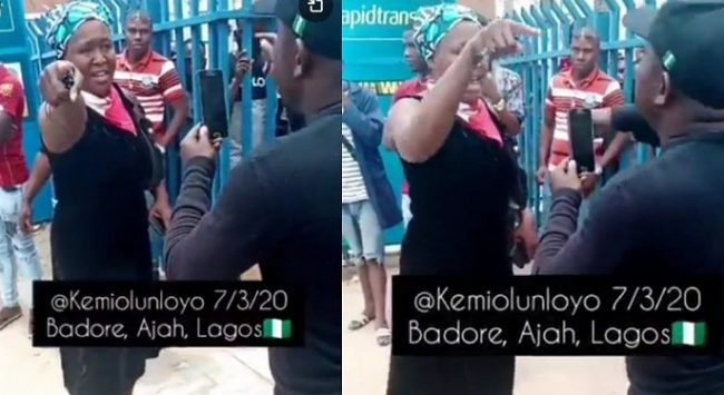 Kemi Olunloyo clashes with SARS officials in Lagos (Video)