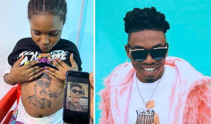 Nigerians React To Pregnant Lady Who Tattoos Singer, Mayorkun's Face On Her Baby Bump - Photo