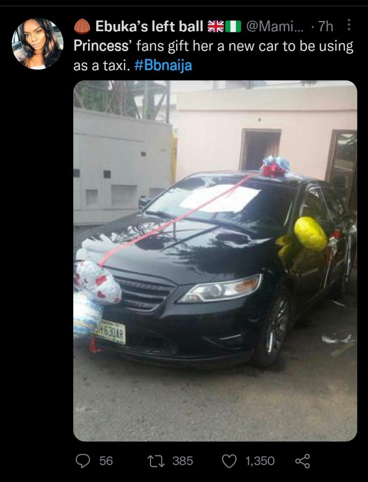 #BBNaija: fans gift Princess new car for her taxi business
