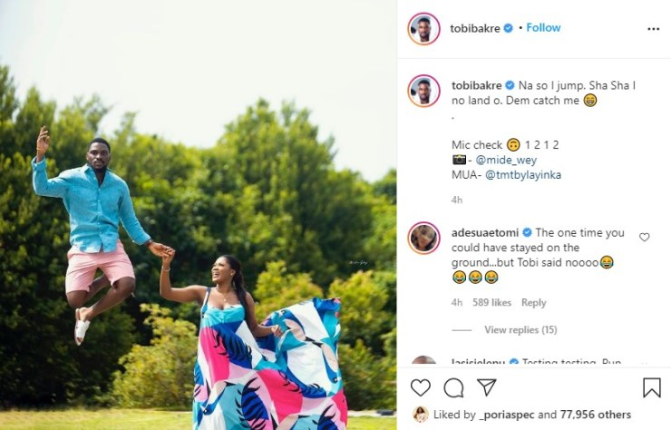 Tobi Bakre releases lovely pre-wedding photos with his fiancée
