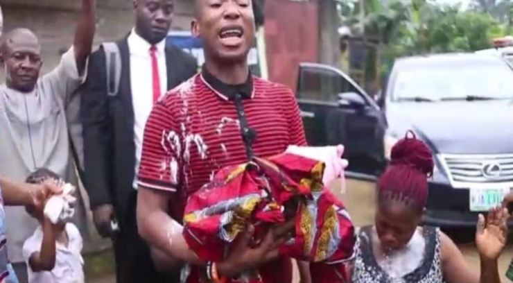 Jubilation in Port Harcourt as woman delivers baby during church service after being pregnant for 2 years and 2 months, baby gets lifetime scholarship from Evang Dr. Gospel Agochukwu