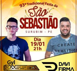 Prefeitura de Surubim divulga programação de shows da 93.ª Festa de São Sebastião