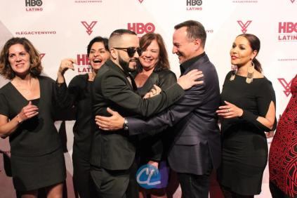 HBO Latino film programming VP Leslie Cohen, HBO Latino film programming senior VP Doris Casap, HBO Latino director of business affairs Rebecca Vazquez, Ruben Leyva of Sony Music U.S. Latin, HBO Latino multicultural marketing SVP Lucinda Martinez, and Sony Entertainment Business Development Manager Melissa Exposito - Greeting Yandel