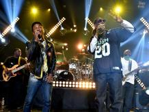 BURBANK, CA - MAY 11: Producer/Recording artist Pharrell Williams (L) and rapper Snoop Dogg perform onstage during Snoop Dogg Live on the Honda Stage at iHeartRadio Theater on May 11, 2015 in Burbank, California. (Photo by Kevin Winter/Getty Images for iHeartMedia)