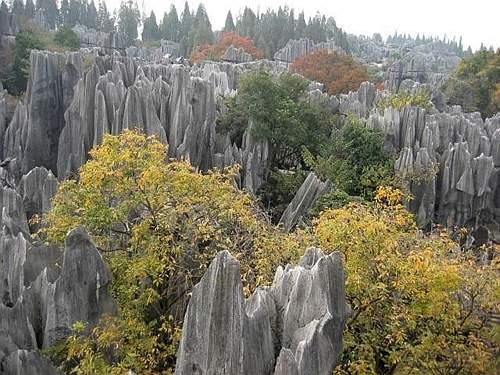 La foresta di pietra, uno straordinario fenomeno carsico naturale a Shilin, nella provincia meridionale cinese dello Yunnan