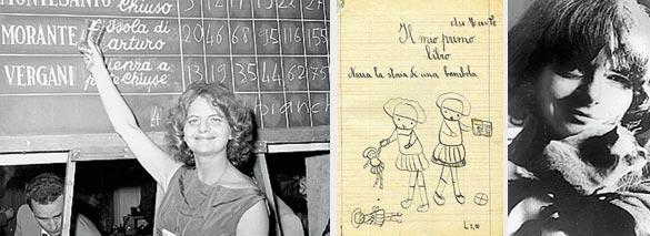 La scrittrice vince lo Strega («L'isola di Arturo», 1957). Al centro: una pagina di un quaderno di Elsa. A destra, con il gatto
