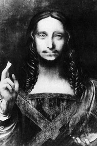 Leonardo's rediscovered Salvator Mundi, before restoration.