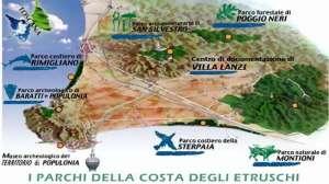 la mappa dei parchi della Val Di Cornia