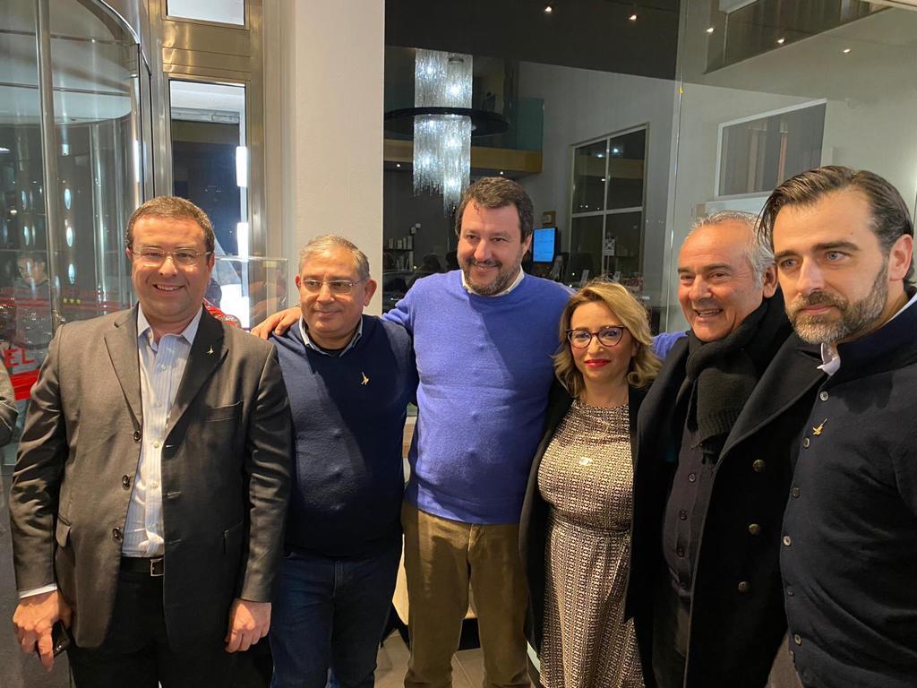 Adrano, Bulla e i 'leghisti di Sicilia' all'Ars incontrano Salvini: difesa del marchio siciliano e poi foto di gruppo