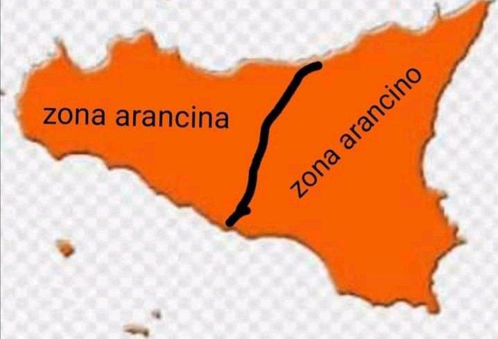 Sicilia Arancione divisa in due: Zona Arancino e Zona Arancina. La vignetta impazza sui social