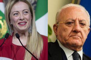 """Il consiglio a De Luca della Meloni: """"Doveva fare l'attore, non il presidente di Regione"""""""