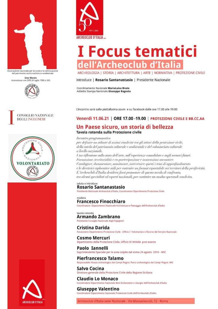 Protezione Civile e Beni culturali, domani webinar su esperienze e scenari futuri organizzato da Archeoclub d'Italia