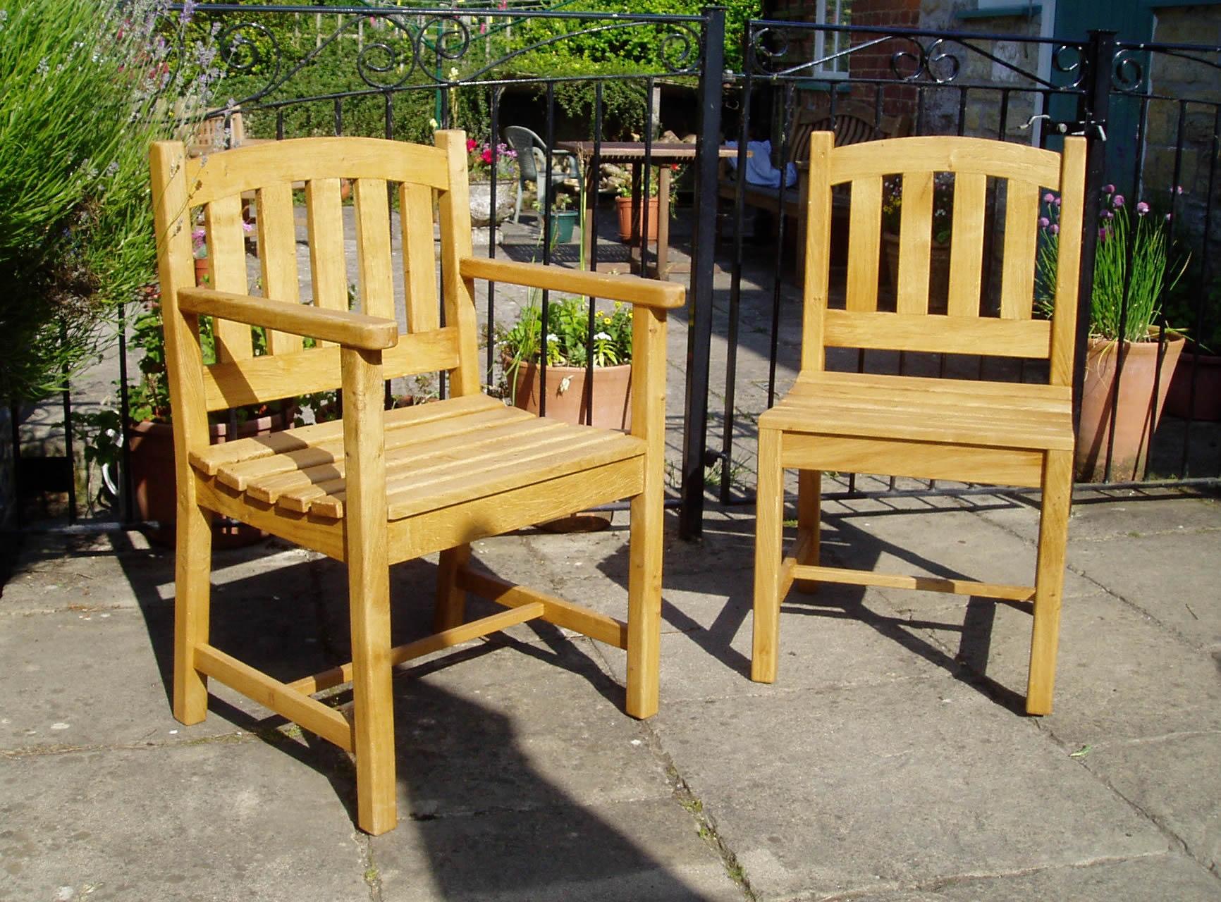 Oak garden chairs
