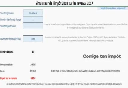 Simulateur Excel Calcul De L Impot 2019 Sur Les Revenus 2018