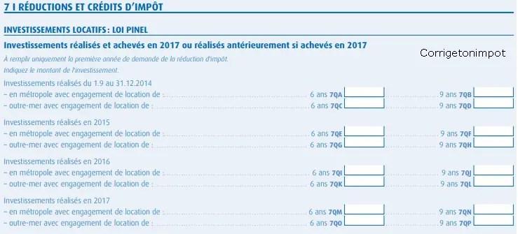 déclaration d'impôt 2042C où on indique le  montant de  l'investissement Pinel avec l'engagement de 6 ou 9 ans.