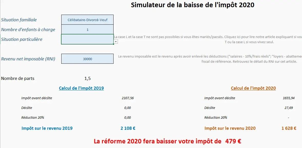 comment calculer les impots sur le revenu 2020
