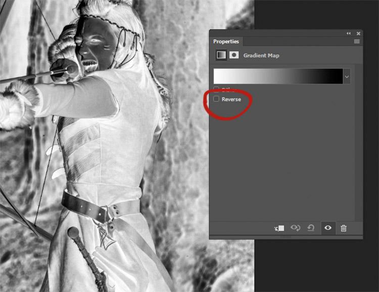 Se la tua immagine appare come un negativo, significa solo che devi invertire i colori di foreground e background. Semplicemente clicca su Reverse box nelle proprietà del tab impostazioni della Gradient Map