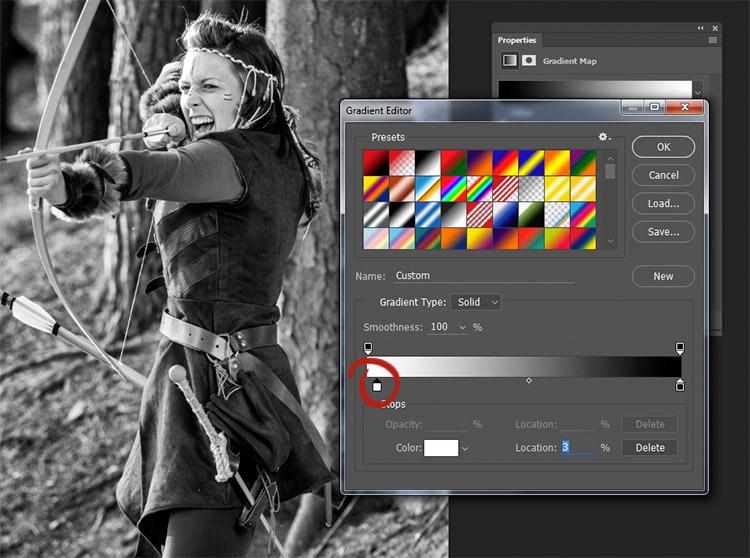 Muovendo lo slider bianco a destra (cerchiato in rosso) le alte luci dell'immagine diventeranno più luminose. Muovendo verso sinistra lo slider nero in basso a destra avrai un incremento delle ombre.