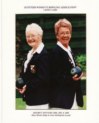 Winners of SWBA District Pairs 2000, 2001 & 2008. Mary Birnie & Jean Meiklejohn