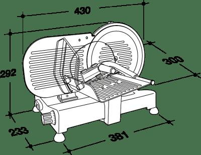 Cortadora de fiambre RGV Lusso 195GL-medidas