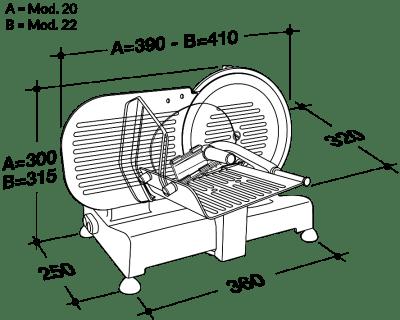 Cortadora de fiambre RGV Luxor 22-medidas